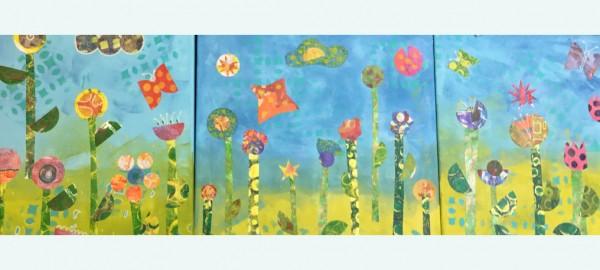 Een schilderij met zomerse bloemen